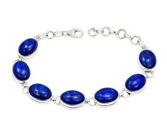 Deep Blue Lapis Lazuli Bracelet & .925 Sterling Silver Bracelet , Ad892 The Silver Plaza