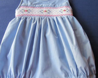Baby girls bubble with handsmocked delicate flowers