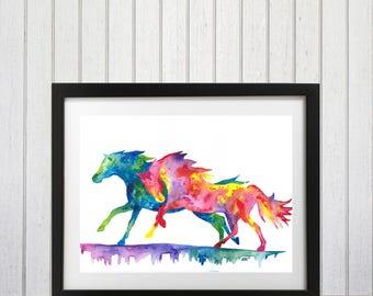 Watercolor Horse art, horse wall art, wall decor, horse decor, watercolor art print