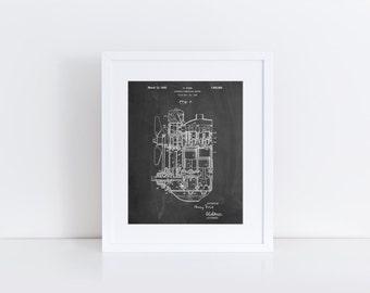 Internal Combustion Engine Patent Poster, Car Part Art, Engine Art, Henry Ford, Classic Car, Car Blueprint, Mechanic Gift, PP0843
