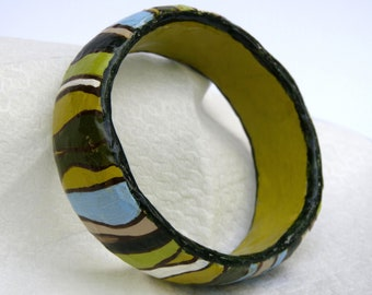 Bracelet, bangle, Jewelry, gift for woman, Papier Mache, free shipping, fashion, woman, gift for mom, colorful, hand painted