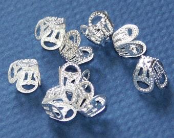 100 pcs of silver plated filigree bead cap 8mm