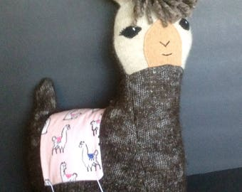 Lulu llama pillow toy in dark brown