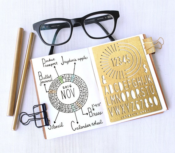 Bullet Journal Stencil, Planner Stencil, Calendar Wheel Alphabet Stencils - fits pocket, passport and field  note (CW S)