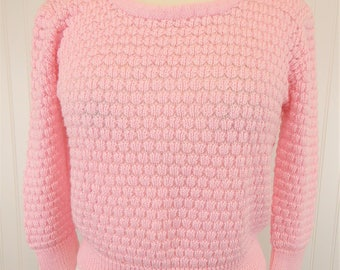 80s Pink Cropped Sweater, Vintage 1980s Knit Long Sleeve Scoop Neck Crop Top, Women's Large, Rendez Vous