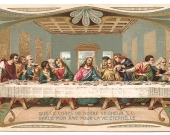 The Last Supper Antique French Holy Prayer Card, Art Nouveau Design, Christian Catholic, Goldprint from Vintage Paper Attic
