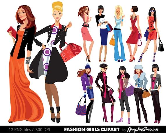 fashion lady clip art fashion girl digital shopping ladies clipart rh etsystudio com lady clipart free lady clipart black and white