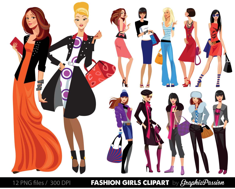 fashion lady clip art fashion girl digital shopping ladies rh etsy com French Symbol Clip Art Mona Lisa Painting Clip Art