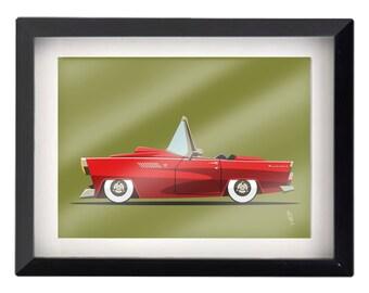 "5""x7"" 1959 Ford Thunderbird Convertible Illustration"