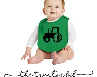 The Monogrammed Tractor Bib