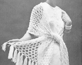 CROCHET PATTERN Vintage 50s Tunisian Lace Stole Wrap Scarf Instant Download PDF