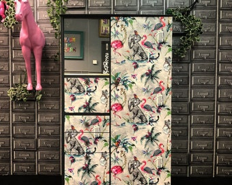 Upcycled vintage retro solid wood wardrobe valet storage unit flamingo grey