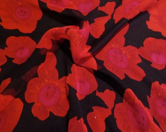 SPECIAL--Stunning Red on Black Floral Print Pure Silk Chiffon Fabric--BY THE Yard