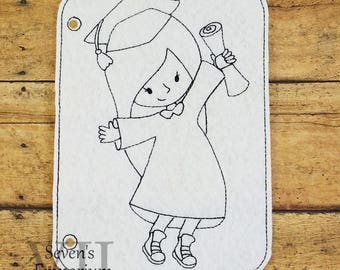Graduation Girl In The Hoop Coloring Page Machine Embroidery Design