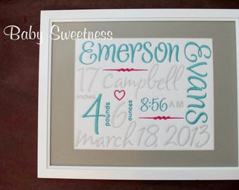 Trendy Mom Gift - Birth Stats - Birth Info - Embroidered Subway Art - 11X14 - Personalized birth announcement - Heirloom Keepsake Baby Gift
