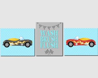 Boy Bathroom Art, Race Car Bathroom Art, Kids Bathroom Wall Art, Cars, Wash, Brush, Flush, Aqua, Gray, Toddlers Bathroom Decor, Set of 3