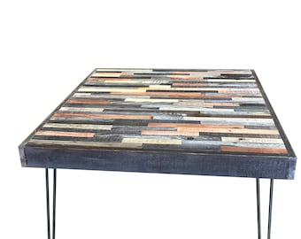 "Sale! 30"" square  Barn wood Coffee Table - Industrial - Mid-Century Modern - Contemporary - Rustic Zen - Mosaic Pattern"