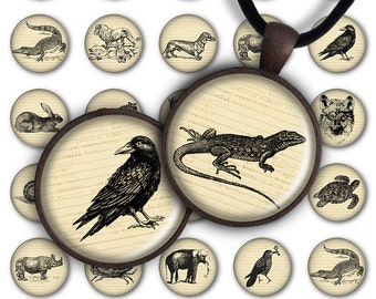 75% OFF SALE Digital Collage Sheet BW Animal World 1inch Round 30mm 25mm 20mm Circle Pendant Printable Download PC036 Jewelry Making