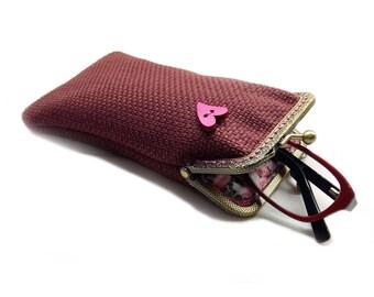 Sunglasses Case, Valentine's Gift for Her, Single Glasses Case, Dark Pink Upholstery fabric, Kiss Lock Antique Bronze Frame