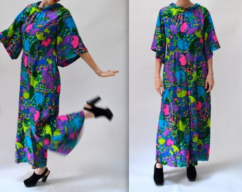 70s Vintage Jumpsuit with Psychedelic Print Size Medium// Vintage 70s Jumpsuit Palazzo Pants Hippy Costume