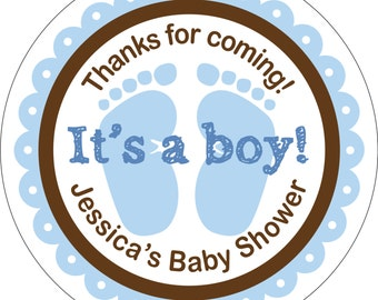 Personalized Glossy It's a Boy (or girl) Baby Shower Stickers - many designs to choose from - can change colors, wording, etc. BR-013