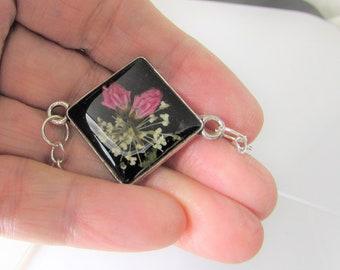 Real Flower Bracelet or Anklet, Adjustable, Pressed Flower Bracelet,Resin,  Silver Plated Brass, (3105)