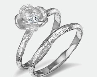 Rose bridal set/  Free spirit bride/  Twig rings / Recycled gold
