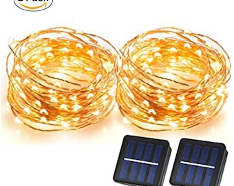 2 Pack 100 LEDs Solar Starry String Lights, Copper Wire solar Lights Ambiance Lighting 2 pack Warm White USA SELLER