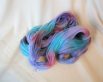 100% Superfine Alpaca - Hand Dyed/Painted - Vermillion, Violet and Turquoise - 3 Ply Worsted Weight  Yarn - 200 Yds - 9-11 WPI