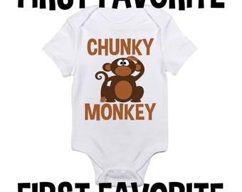 Chunky Monkey bébé grenouillère Body chemise douche cadeau drôle mignon Unique grossesse faire-part naissance révèlent nourrisson nouveau-né - 24M prendre la maison