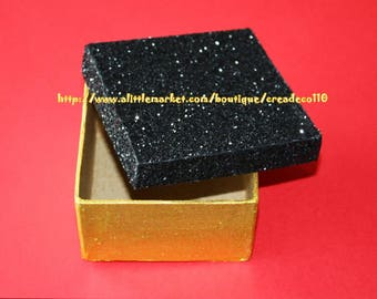 Mini box luxury rhinestone black and gold 9 cm square