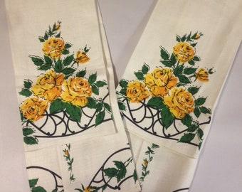 2 Vintage Yellow Rose Linen Tea Towels