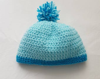 Handmade crochet baby hat with pompom and trim. 2 tone baby hat.