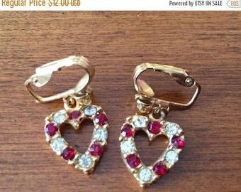 ON SALE Heart Earrings Dangle Earrings Drop Earrings Rhinestone Earrings Clip Earrings