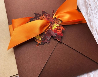 Fall Leaf Wedding Invitation, Pumpkin Wedding Invitation Set, Autumn Leaf Wedding Invitation, Rustic Wedding Invite, Pocket Wedding Invite