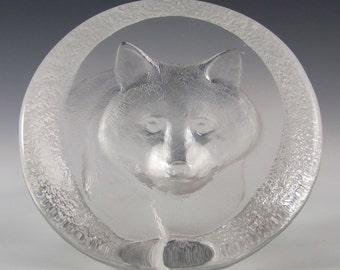 Mats Jonasson Glass Raccoon Paperweight #3334 - Signed