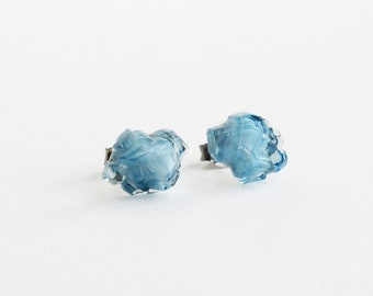 Blue Glass Iceberg Stud Earrings Vintage Blue Art Glass Studs Hypoallergenic Blue Ice Glass Earrings