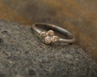 Brown Diamond Bezel Ring - Alternative Engagement Ring - Brown Diamond Ring in Recyceld Sterling Silver or Karat Gold - Diamond Bezel Ring