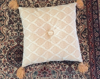 vintage blush / peach brocade pillow with tassels