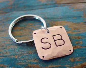 Monogram Keychain,Copper Gift, Monogram Key Chain,Personalized Gift, Boyfriend Gift,Mens Key Chain,Copper Gift,Hand Stamped,Initial Keychain