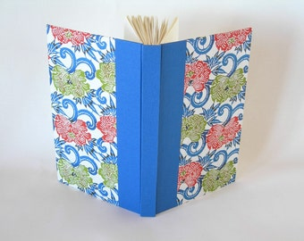 Blank book journal unlined- royal blue with red and green peony katazome - 6x9in - Ready to ship