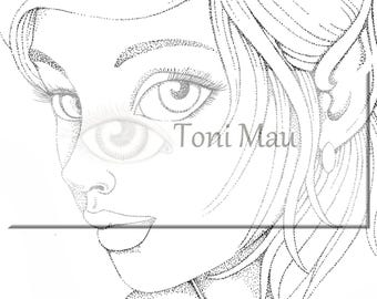 Olivia  – Digital Download Coloring Page, Adult Coloring, Relaxing, Digi Stamp, Printable
