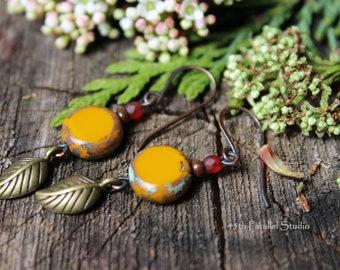 Yellow Czech Glass Earrings, Leaf Earrings, Copper Earrings, Yellow Earrings, Nature Earrings, Boho, Nature Inspired, Fall Earrings, Rustic