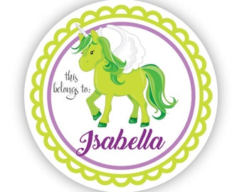 Name Label Personalized Stickers - Lime Unicorn, Purple Unicorn Name Tag Label Sticker, This Belongs To Tags - Back to School Name Labels