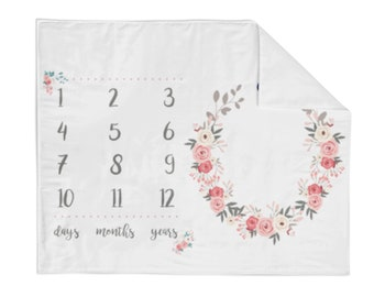 Monthly Milestone Blanket Pretty Floral - Crib Blanket - Baby Blanket - Floral Blanket - Monthly Counter Blanket - Girl Blanket - Baby Gift