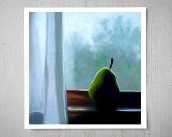 Pear in the Window - Fine Art Oil Painting Archival Giclee Print Decor by Artist Lauren Pretorius