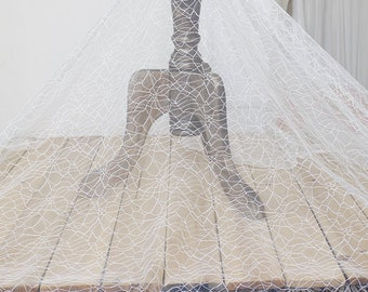Off-White Lace Fabric/Unique Bridal Lace/Evening Dress/Lace Wedding Dress/Prom Dress Fabric/Boho Wedding Dress/FL-75