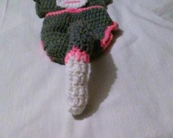 Crochet sock monkey diaper set, hot pink sock monkey, crochet sock monkey diaper set, sock monkey newborn photo prop, girl sock monkey prop
