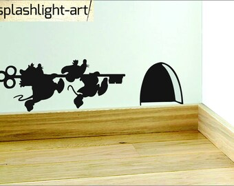 Cinderella mice with key Skirting Board vinyl sticker wall Dical mouse hole art Disney