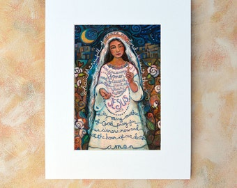 Hail Mary Catholic Biblical Wall Art Print, Painted Prayer, Blessed Mother.